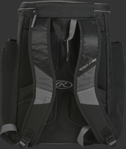 Back of a gray/black R600 Rawlings Players backpack with black shoulder straps