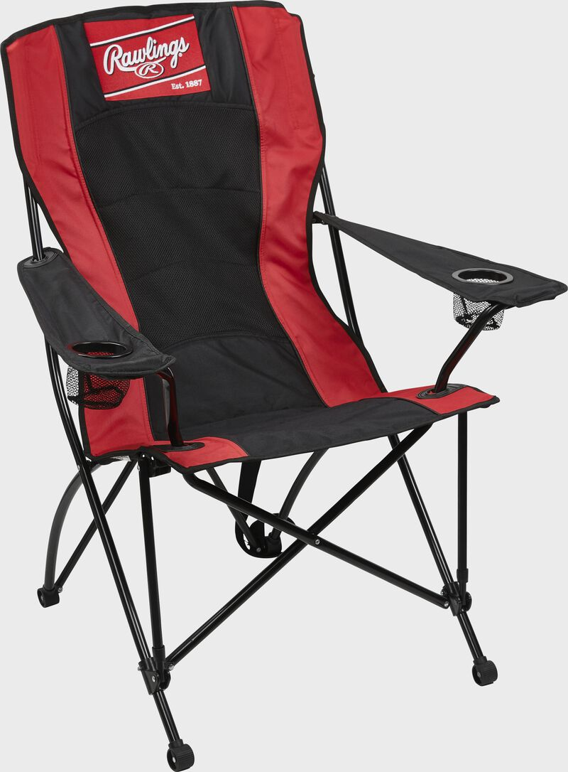 A black/red Rawlings high back chair with a Rawlings patch logo at the top - SKU: 00184043511