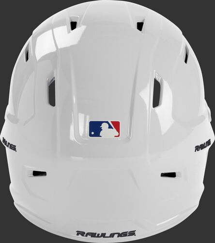 Back of a white MCH01A Mach series helmet with the MLB logo sticker