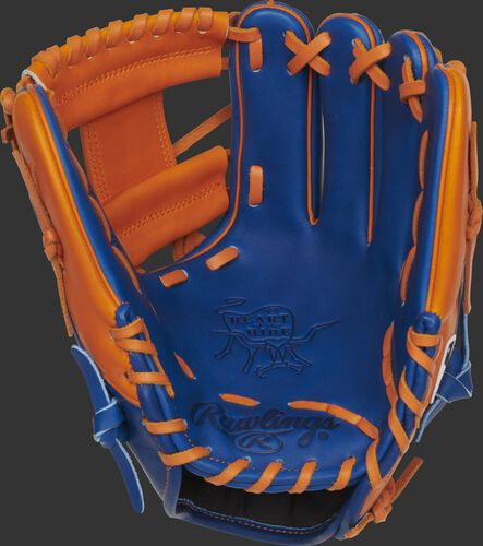 Royal palm of a Rawlings New York Mets HOH glove with orange laces - SKU: RSGPRO204-2NYM