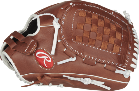 R9SB125FS-3DB R9 Series fastpitch outfield/pitcher's glove with a brown thumb and brown Basket web