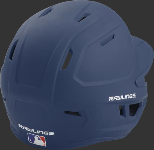 Back right of a one-tone matte navy MACH Rawlings junior size batting helmet