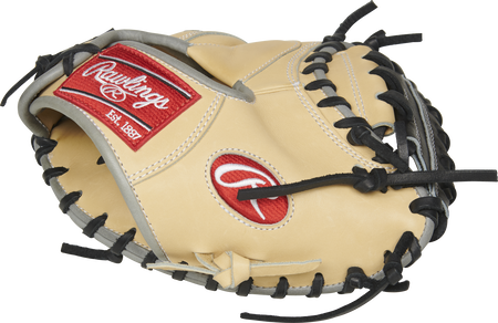 PROCM27TR Heart of the Hide 27-inch catcher's training mitt with a camel thumb and black one-piece solid web