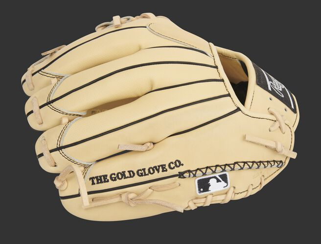Camel Speed Shell back of a Pro Preferred I-web infield glove with hand sewn welting and MLB logo - SKU: PROS204-2CSS