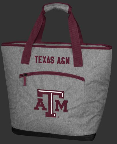 A gray Texas A&M Aggies 30 can tote cooler with an embroidered team logo on the front - SKU: 10323061111