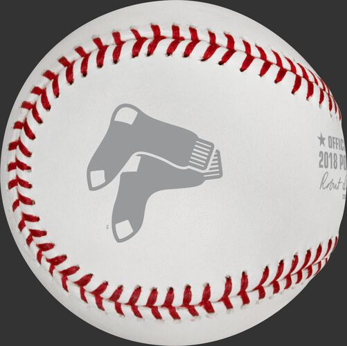 The Boston Red Sox logo stamped on the ALCS18CHMP 2018 ALCS champs baseball