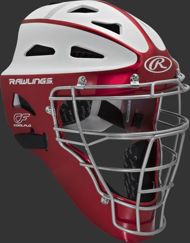Front right of a scarlet/white SBCHVEL Rawlings Velo softball youth catcher's helmet