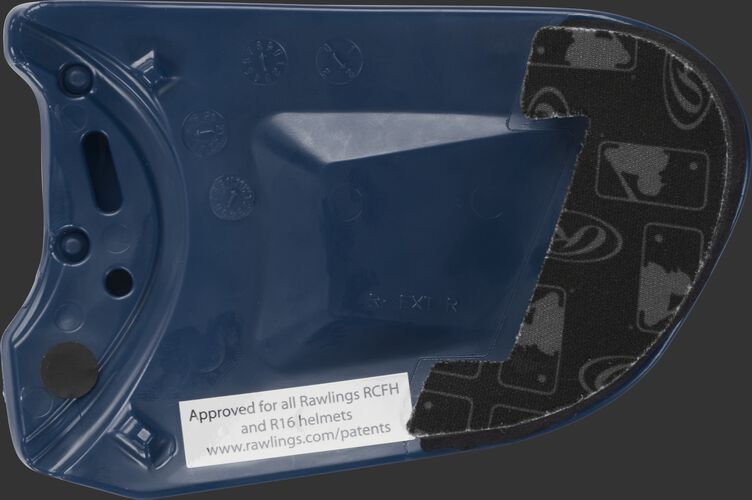 Padding on a navy REXT Rawlings R-EXT universal batting helmet face guard extension