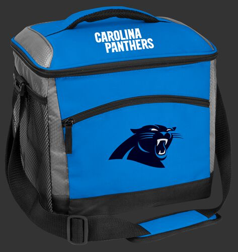 A blue Carolina Panthers 24 can soft sided cooler with screen printed logos - SKU: 10211090111
