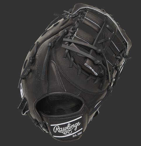 Black back of a Pro Preferred 13-inch first base mitt with a black Rawlings patch - SKU: PROSDCTB