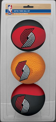 Rawlings Black , Brown, and Red NBA Protland Trail Blazers Three-Point Softee Basketball Set With Team Logo SKU #03524215114