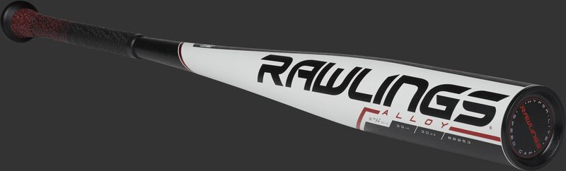 3/4 angle view of a BB953 Rawlings BBCOR one-piece alloy baseball bat with a white barrel and black end cap