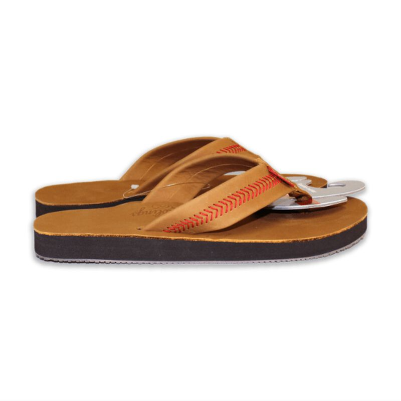 Side of Rawlings Men's Baseball Stitch Nubuck Brown Leather Sandals With Red Baseball Stitch and Brand Name SKU #P-RF50000-204