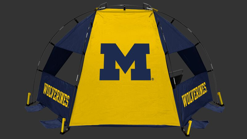 Back of a Michigan Wolverines sideline sun shelter with the Wolverines logo in the middle - SKU: 00973083111