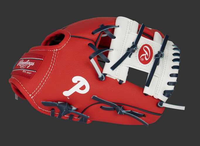 A red/white Philadelphia Phillies 10-inch team logo glove with a white I-web and Phillies logo on the thumb - SKU: 22000020111