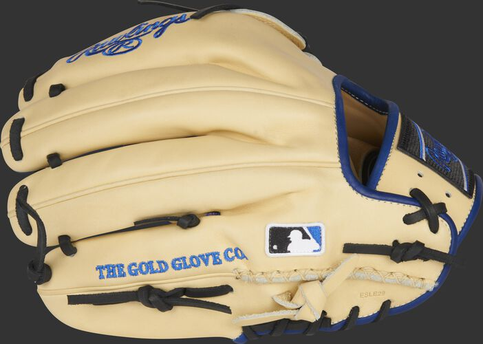 Camel back of a Heart of the Hide ColorSync 5.0 11.75-Inch infield/pitcher's glove with the MLB logo on the pinky - SKU: PRO205-30CR