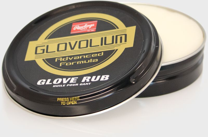 A round Rawlings Glovolium Glove Rub for cleaning and conditioning gloves SKU #GLVRUB