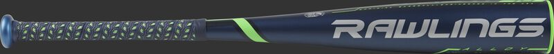 UT9T10 Rawlings USSSA Threat -10 bat with a navy barrel and green/grey accents