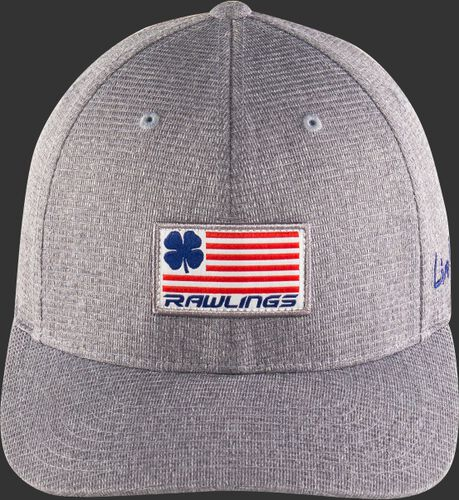 An American flag themed logo on the front of a grey RBC nation Rawlings Black Clover hat - SKU: BCRBCN0061