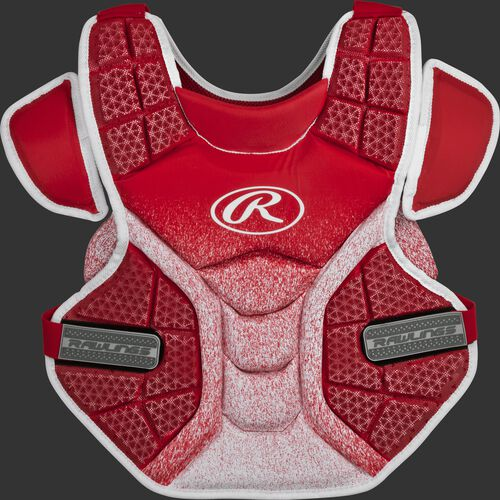 Front of a scarlet/white SBCPV Velo adult softball chest protector