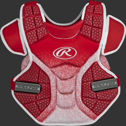 A scarlet/white SBCPVI Velo intermediate softball chest protector