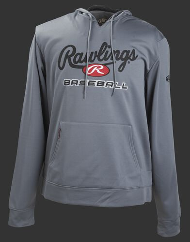 Front of Rawlings Gray Youth long Sleeve Hoodie - SKU #YPFHPRBB-GR-88