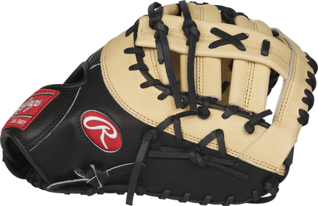 PRODCTCB Heart of the Hide 13-inch first base mitt with a black thumb and camel Single Post Double Bar web