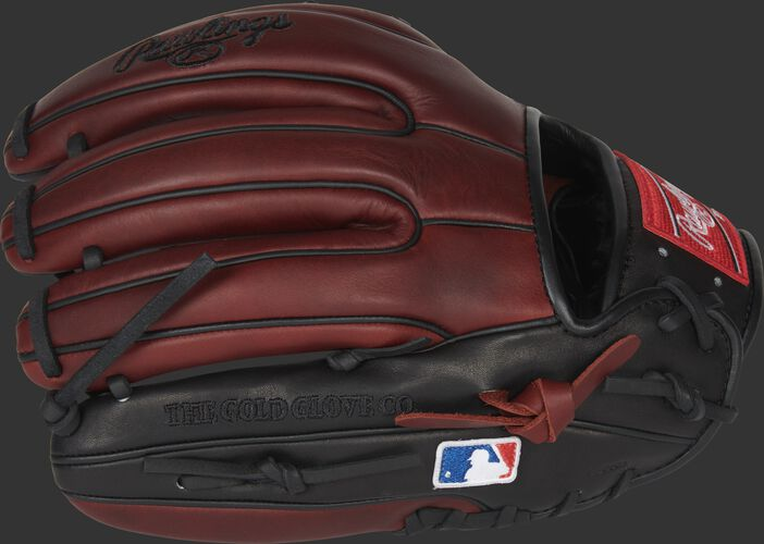 Burgundy/black finger backs of a Rawlings I-web infield glove with the MLB logo on the pinky - SKU: PRO315-2JPPRO