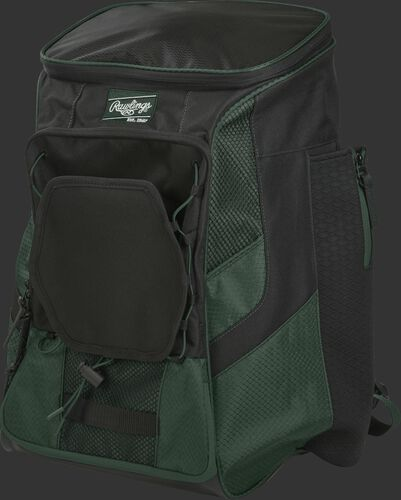Front left of a dark green/black R600 Rawlings backpack without bats