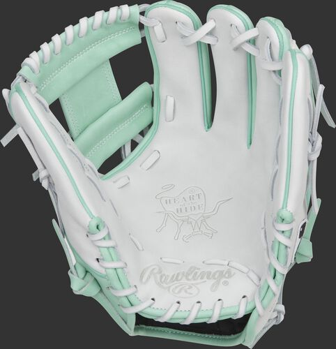 White Heart of the Hide palm of a 2021 exclusive hybrid glove with white laces - SKU: RSGPRO204-2WM