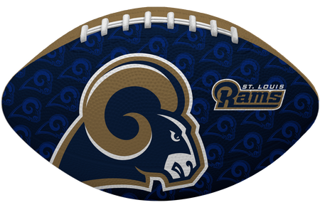 Navy side of a NFL Los Angeles Rams Gridiron football with the team logo