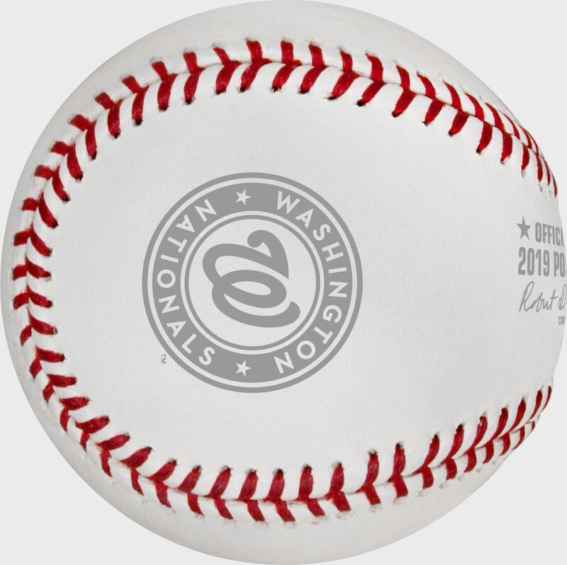 The Washington Nationals logo stamped on the NLCS19DL NLCS dueling teams ball