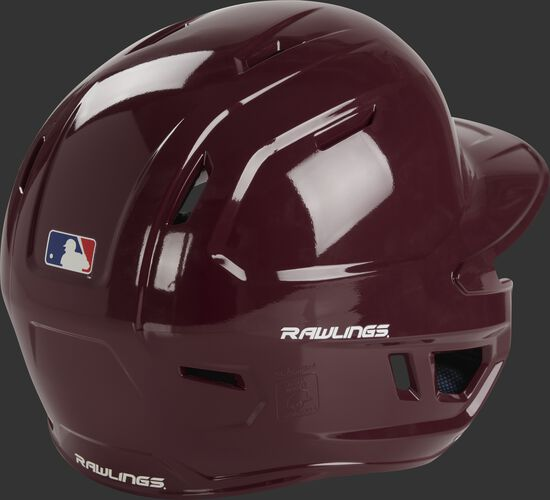 Back right of a MCH01A Rawlings high school batting helmet with a maroon shell
