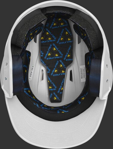 Inside of a white MCH01A high school Mach helmet with black foam padding