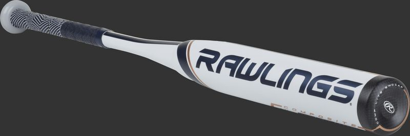 FP9V11 Rawlings fastpitch softball bat with a white barrel and navy/rose gold accents
