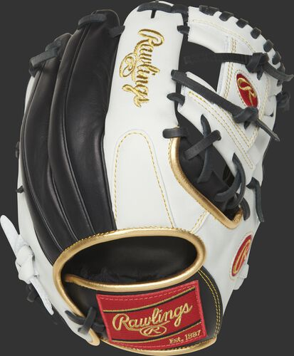 EC1150-2BW 11.5-inch Encore I web glove with a white/black back and gold binding/welting