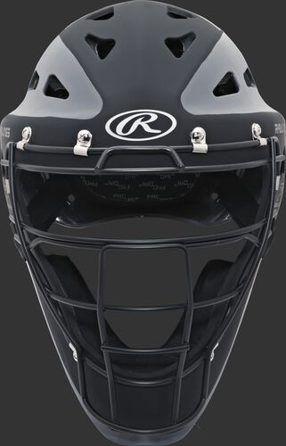 Front of a black/graphite CHVELY Velo youth hockey-style catcher's helmet