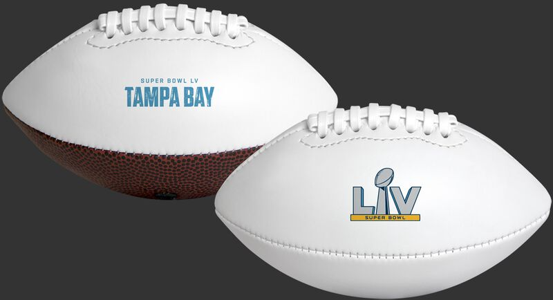 """A white 2021 Road to Super Bowl 55 youth size football with the Super Bowl logo on one side and """"Tampa Bay"""" on the other"""