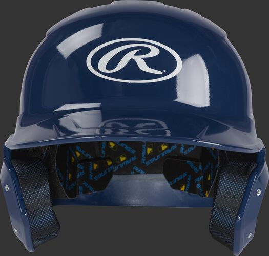 Front of a navy MCH01A Rawlings Mach helmet with an Oval R logo