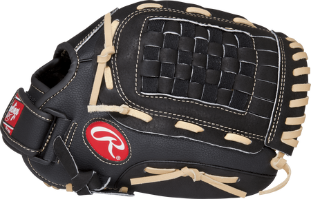 Thumb view of a black RSS120C RSB 12-inch infield, pitcher glove with a black Basket web