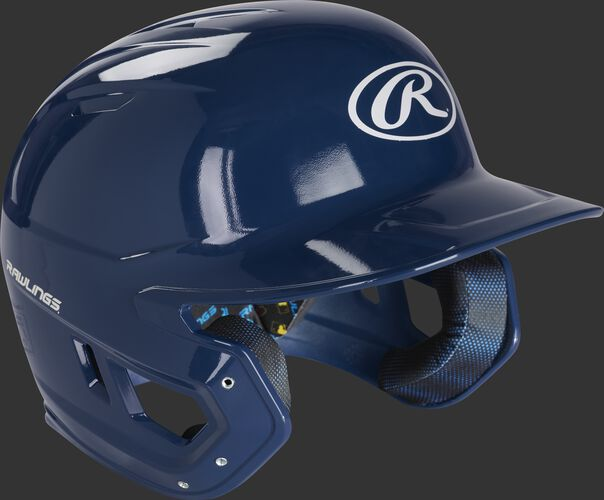 Right angle view of a MCC01 Rawlings Mach helmet with a gloss navy shell