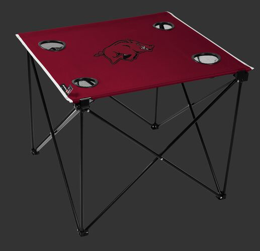 A red NCAA Arkansas Razorbacks deluxe tailgate table with four cup holders and team logo printed in the middle SKU #00713069111