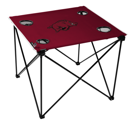 A red NCAA Arkansas Razorbacks deluxe tailgate table with four cup holders and team logo printed in the middle