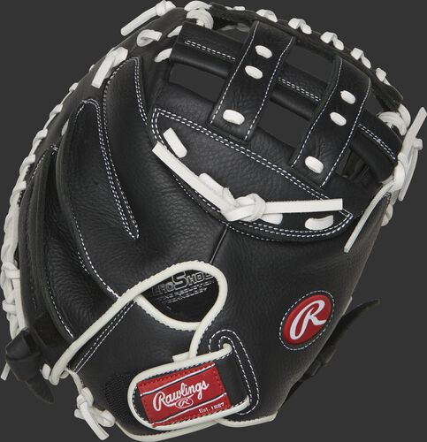 RSOCM325BW 32.5-inch Shut Out catcher's mitt with a black back and Velcro wrist strap