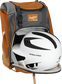 A white/black helmet in the main compartment of an orange Rawlings Franchise backpack - SKU: FRANBP-O image number null