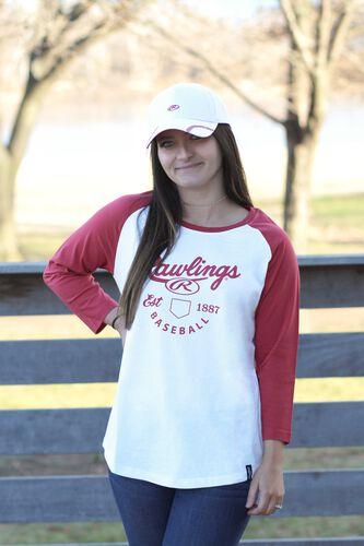 Left Side of Rawlings White/Scarlet Women's EST Raglan Baseball T-Shirt - SKU #RA30002-623