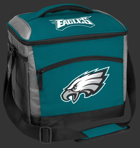 A green Philadelphia Eagles 24 can soft sided cooler with screen printed team logos - SKU: 10211080111