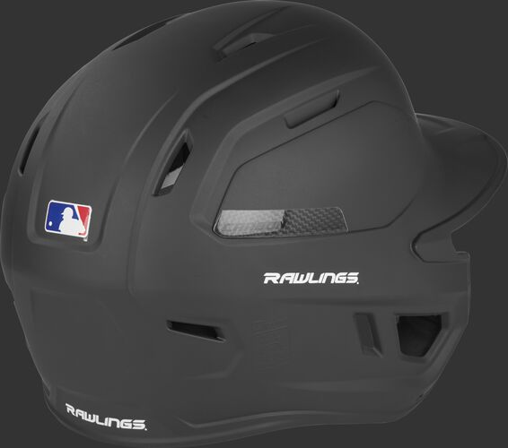 CAR07A Rawlings high school/college batting helmet with a black shell and air vents on the back
