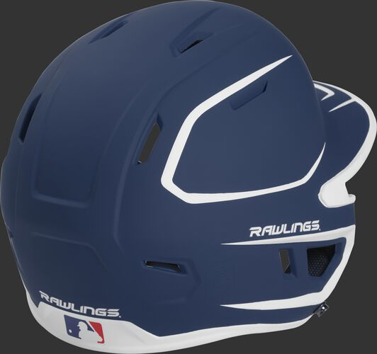 Back right of a two-tone matte navy/white MACHEXTR Rawlings senior size batting helmet