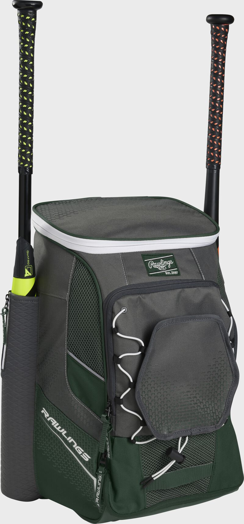 Front left angle of a dark green Rawlings Impulse baseball gear backpack with two bats - SKU: IMPLSE-DG